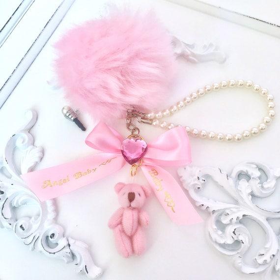 Angel Baby Bear Pink Fluffy Keychain Dust Plug Phone Strap  cd43d36e47c6