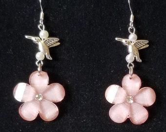 Pink Sparkle Flower Hummingbird Drop Earrings