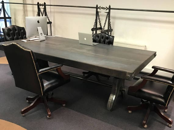 Industrial Steel Metal Rustic Dining Table / Meeting Table / Office Desk -  Work Of Art Hand Made Heavyweight Table - Beautiful