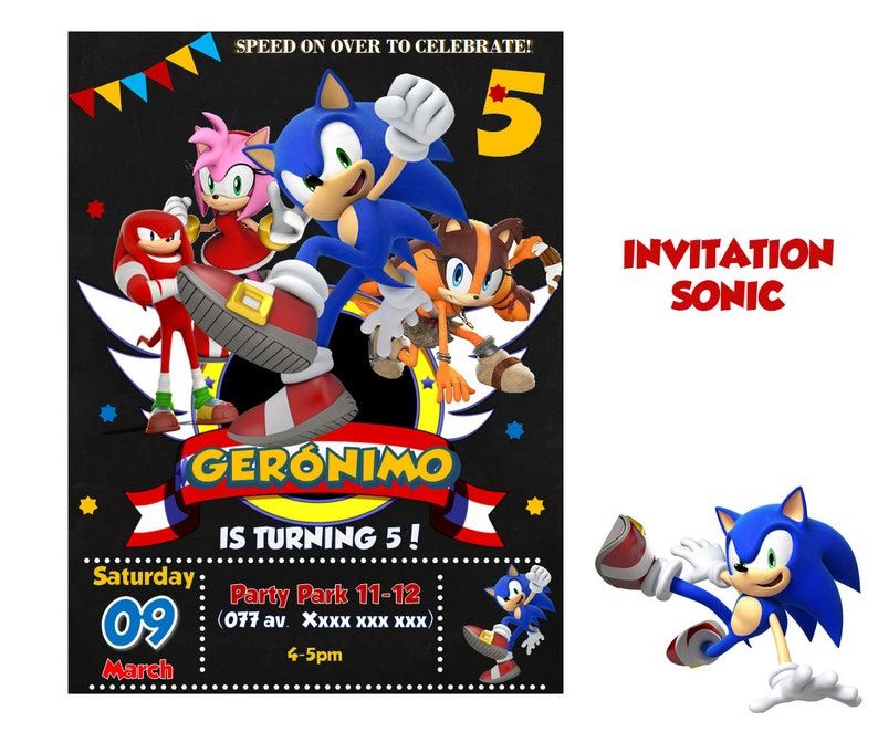 Sonic Invitatio Sonic Invite Sonic Party Sonic Birthday Etsy