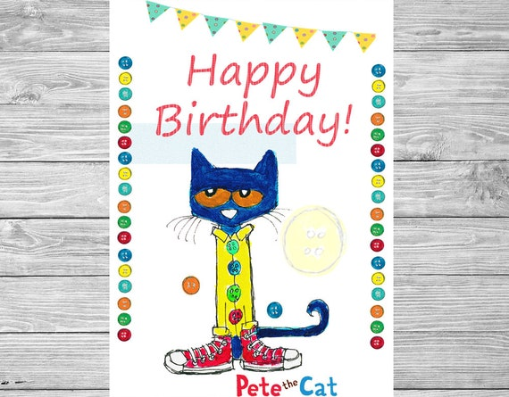 Pete The Cat Birthday Door Sign Pete The Cat Printable Etsy
