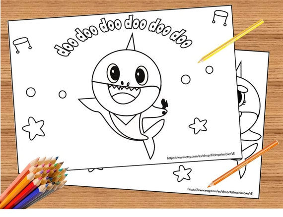 Baby Shark Song 10 Coloring Pages Super Simple Coloring | Etsy