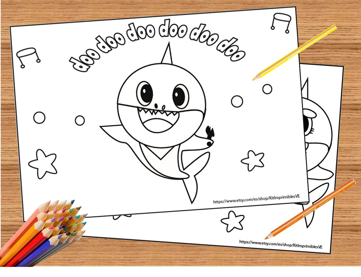 Baby Shark Song 10 Coloring Pages, Super Simple Coloring, Printable Baby  Shark Birthday, Set of 10 Coloring Pages