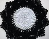 SALE Handmade Black - White Crochet Doily 3D Crochet Tablecloth Crochet Home Decor Table Decorations Crochet Gifts For Women milky doily