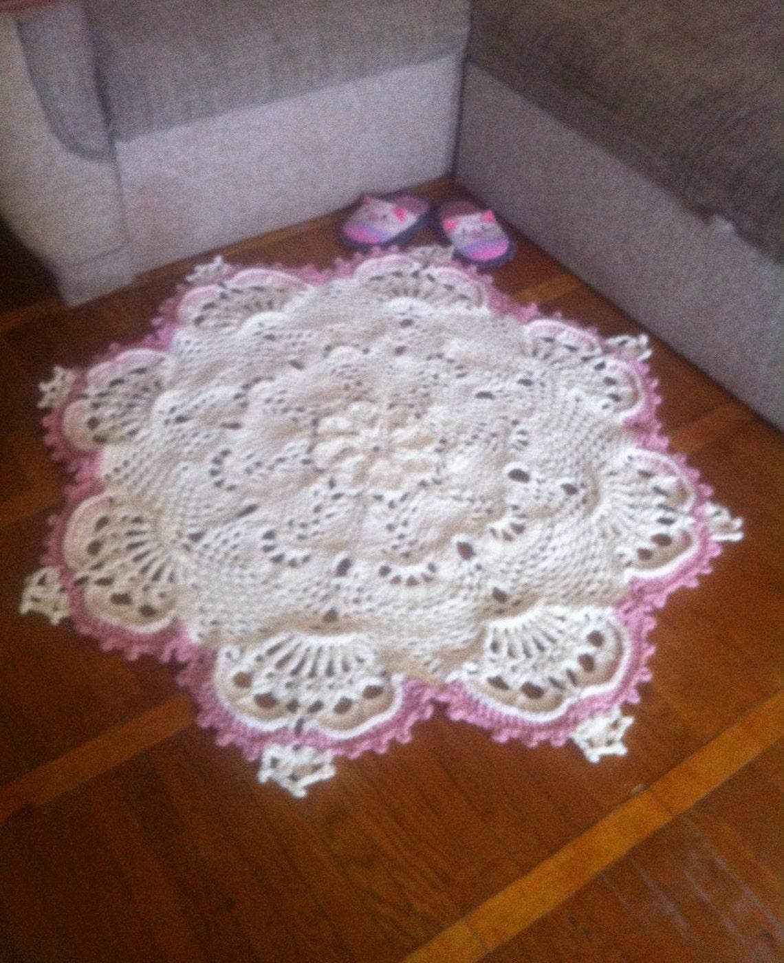 3d Crochet Doily Round Doily Rug 49 Inches Crochet Rug White Etsy