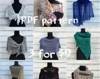 Crochet Shawl PDF Pattern Set, Crochet Shawl Wrap Lace Scarf Pattern, Written Tutorial, Chart and Diagram