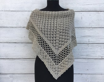 Crochet Shawl Wrap Cotton Beige Lace Knit Triangle Scarf, Spring Summer Russian Stole Poncho