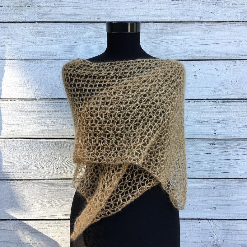 Lace Beige Light Brown Scarf Crochet Shawl Wrap Soft Kid Mohair Silk Wool Knit Wedding Bridal Bridesmaid Autumn Fall Winter Evening Stole