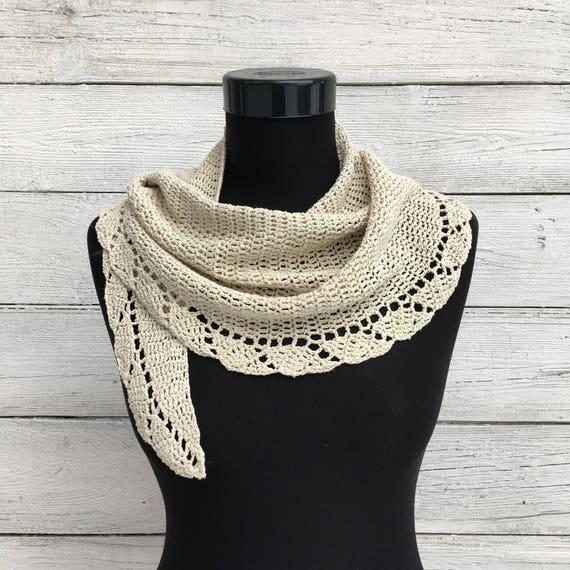 Häkeln Sie Schal Schal 100 % Naturseide stricken Halbmond | Etsy