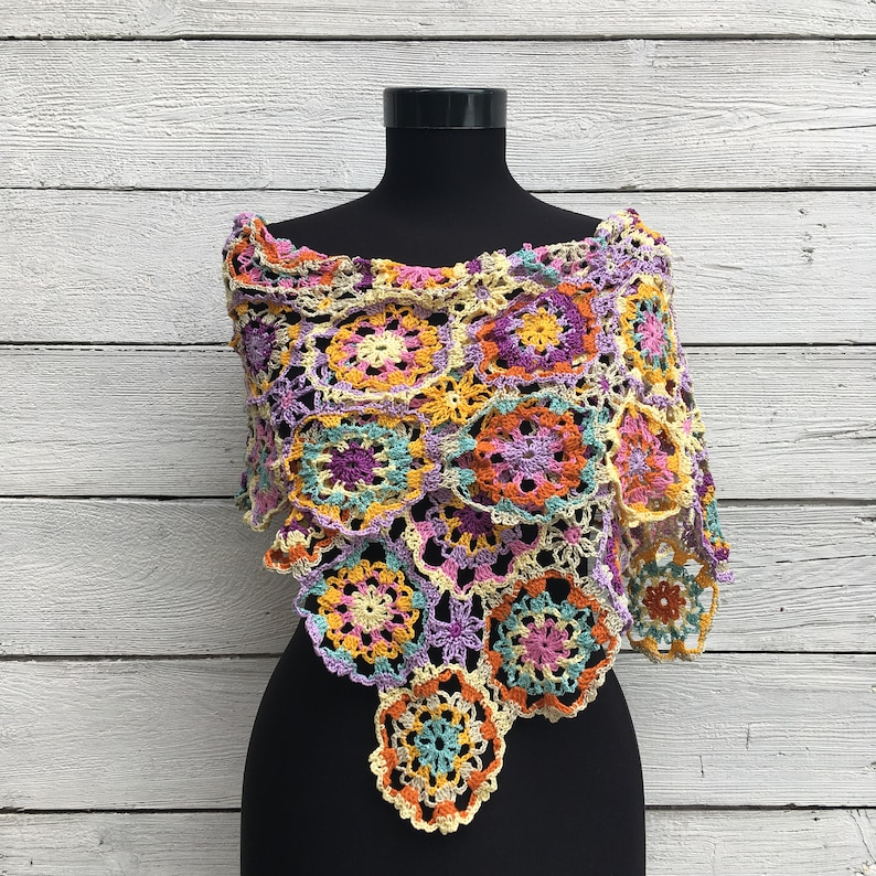 Crochet Shawl Wrap Pattern PDF Chart and Diagram Lace Summer Scarf Written Tutorial Spring Granny Square Round Motif Multicolor Stole