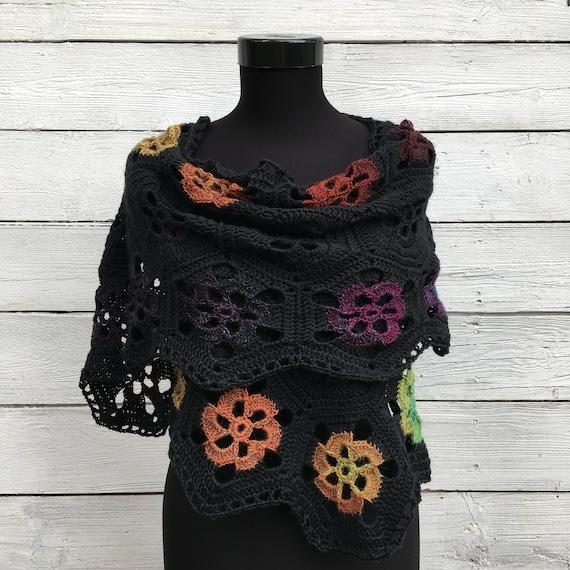 Merino-Wolle häkeln Schal Schal wickeln stricken Blume | Etsy