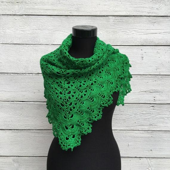 White Cotton Lace Knit Bridesmaid Wrap Crochet Shawl Triangle Scarf Elegant Summer Shawl Wedding Bridal Shawl