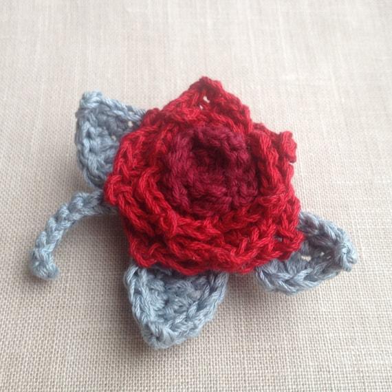 Rote Rose Häkeln Brosche Rubin Corsage Blumen gehäkelte | Etsy