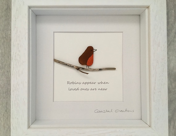 memorial gift Robins appear when lost love ones are near fused glass freestanding wave fused glass robin Cornish fused glass