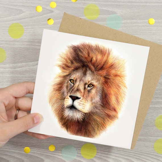Blank cards Lion and Tiger Art Greeting Cards set of 10,Wildlife art,Big Cats