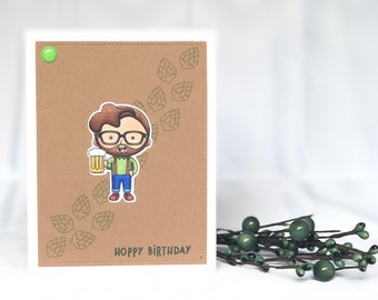 Beer Birthday Card - Guys Birthday Card - Beer Card - Cheers Card - Cheers to You - Men Birthday Card - Beer Greeting Card - Hipster Card