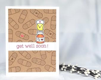 Get Well Card - Handmade Get Well Card - Cute Handmade Card - Get Well Soon Card - Feel Better Soon Card - Blank Inside Card - Surgery Card
