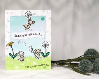 Mouse Birthday Card - Dandelion Card - Mouse Card - Birthday Wishes Card - Cute Happy Birthday Card - Cute Animal Card - Mouse Greeting Card