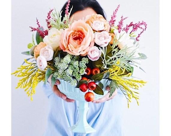 Wedding Centerpiece, Artificial Flower Arrangement, Wedding Flowers, Faux Flower arrangement, Faux wedding flowers, faux flowers