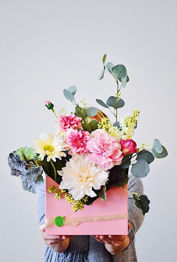 Artificial flower arrangement, gift for her, faux flowers, faux flower arrangement