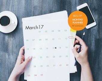 2017 Monthly Calendar INSTANT DOWNLOAD