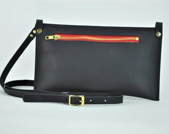 Black Oil Tanned Leather Pouch