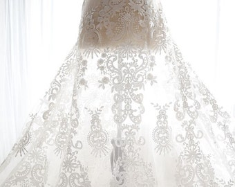 Fashion lace fabric tulle wedding lace fashion embroidery lace alencon french lace fabric for gown dress
