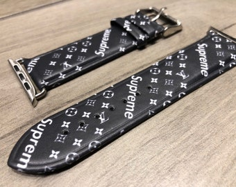 Custom Apple Watch Band Straps Wrist Bands In Black Supreme X Louis Vuitton Sup Lv Monogram