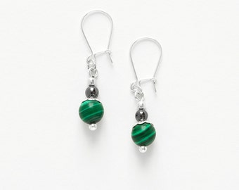 Earrings Malachite
