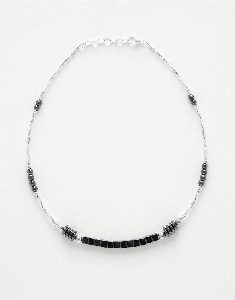 Necklace Round cubes H\u00e9matite