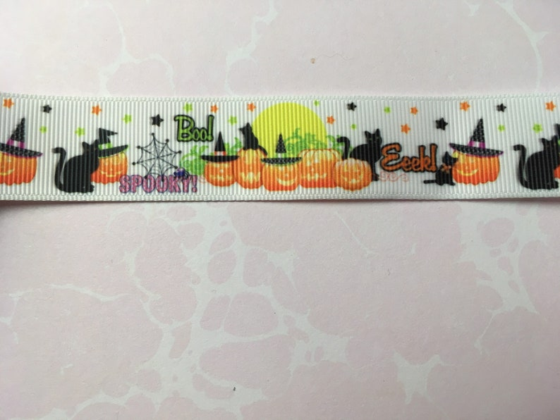 Halloween Black Cats and Pumpkins Spooky Witch Owls on White Grosgrain Ribbon for Junk Journals Crafts  Mixed Media Collage Sewing