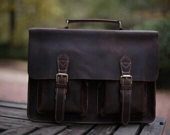 Leather Messenger Bag/ Leather Briefcase/ Crossbody Bag/ Laptop Bag/ Shoulder Bag/ Satchel /Leather Backpack