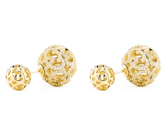 e4457be58 Monaco Gold Double Ball Earring/Double Sided Earring Gold/Double Pearl  Earring Gold/Front Back Earring/Two Ball Earring/Gold Ball Earrings