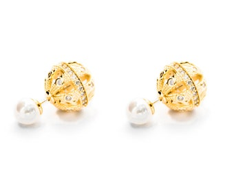 0c16bb441ceb85 Shambhala Gold Double Ball Earring/Double Pearl Earring Gold/Double Sided  Earring Gold/Front Back Earring/Two Ball Earring/Gold Ball Earring
