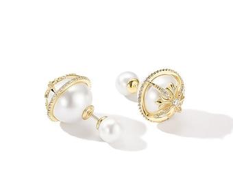 6c768bba9ba2ca Xena Double Pearl Earring/Front Back Earring For Her/Double Sided Earring  For Her/Double Ball Earring/Pearl Stud Earring/Dior Earring