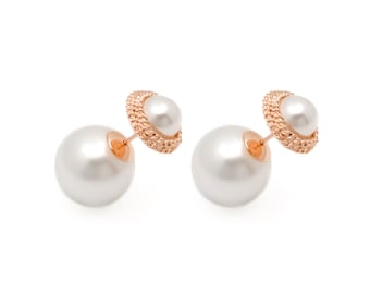 Crown Double Pearl Earring/Double Sided Earring For Her/Double Ball Earring Gold/Front Back Earring/Two Ball Earring/Dior Earring