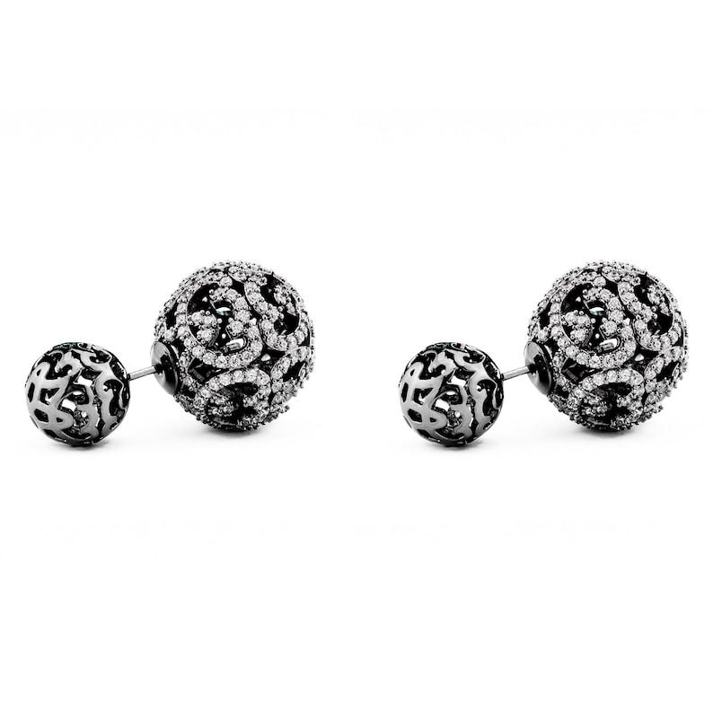 5b631c208b5f8f Monaco Gold Double Ball Earring/Double Sided Earring | Etsy
