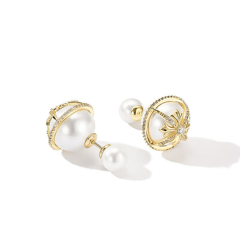 2a1376bd58abb Xena Double Pearl Earring/Front Back Earring For Her/Double Sided Earring  For Her/Double Ball Earring/Pearl Stud Earring/Dior Earring