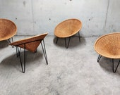 Vintage rattan tub chairs, 1960s - mid century modern rattan chairs - vintage conical rattan chairs - rattan lounge chairs