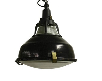 Pendant lights etsy vintage black enamel industrial pendant lights with glass vintage factory lamps black enamel lamps 1950s industrial pendant aloadofball Choice Image