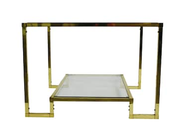 Two Tier Glass Table Etsy - Two tier glass side table