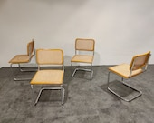 Set of 4 vintage Marcel Breuer Cesca chairs, made in italy, 1970s - mid century modern marcel breuer chairs - thonet