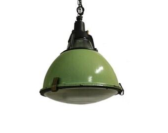 Industrial pendant light etsy vintage green enamel industrial pendant lights with glass vintage factory lamps green enamel lamps 1950s industrial pendant aloadofball Images