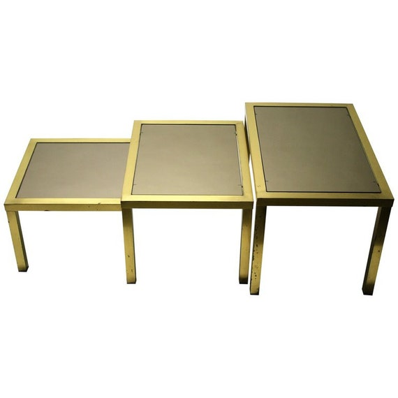 Vintage Brass Nesting Tables 1960s Hollywood Regency Nest Of Tables Brass And Smoked Glass Side Tables Set Of Tables