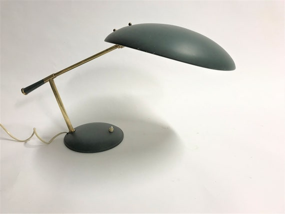 Vintage desk lamp by Louis Kalff, 1950s rare louis kalff lamp mid century desk lamp green desk lamp philips desk lamp bauhaus lamp
