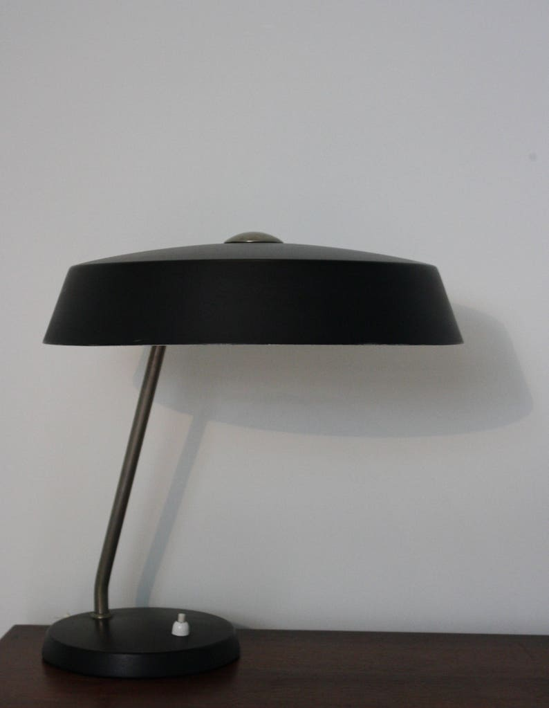 Vintage Black Louis Kalff Lamp By Philips 1960s Table Lamp Etsy