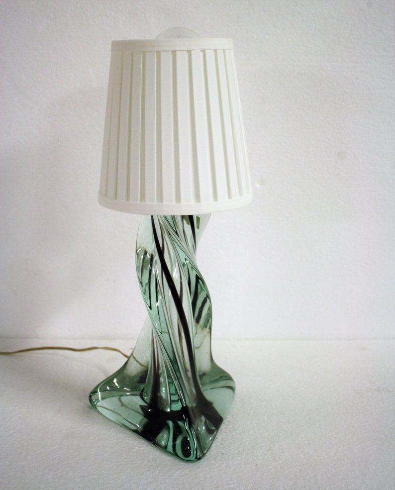 green table lamp 1960s crystal table lamp Vintage french crystal table lamp Antique Table Lamp Vintage Table Lamp