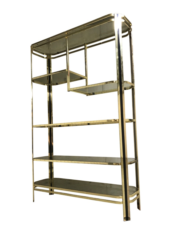 Vintage Brass And Smoked Glass Shelving Unit 1970s Hollywood Regency Etagere Made From Brass 1970s Glamour Brass