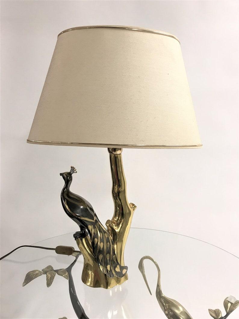 Lampade da tavolo pavone in ottone vintage di Willy Daro 1970 XkT4Bw6f