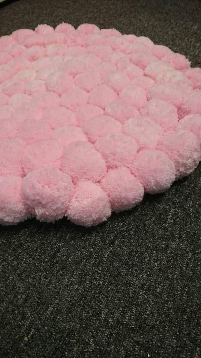 Image of: Pastel Pink Pom Pom Rug Nursery Rug Bedroom Mat Girls Etsy